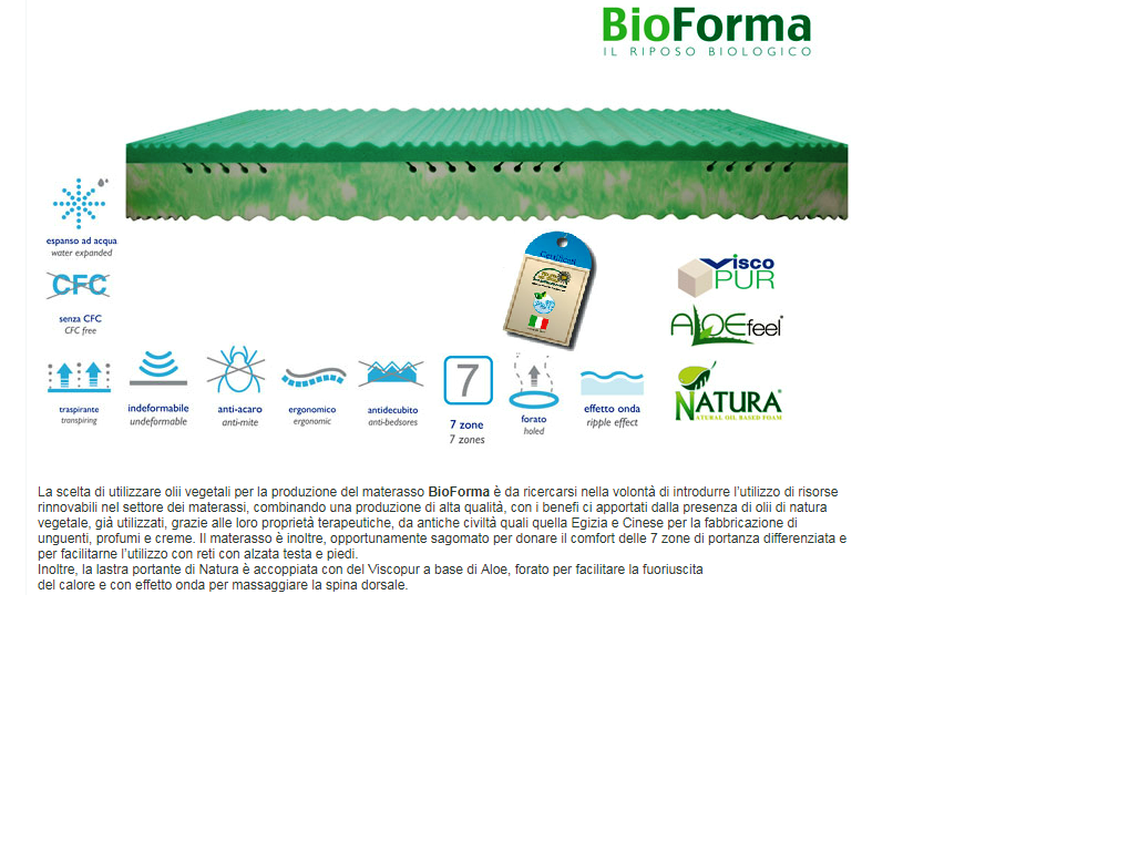 "Materasso in memory ""Bioforma"" all'aloe vera"